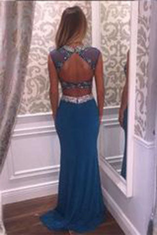 Two Pieces Beading Charming Open Back Blue High Neck Mermaid Long Prom Dresses uk,L47