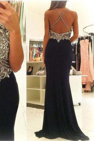 Halter Beading Mermaid Sexy Real Made Criss Cross Scoop Sleeveless Prom Dresses uk L09