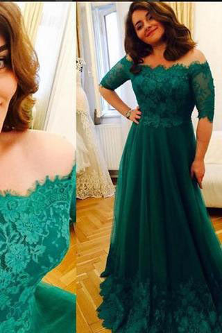 Princess Green 2017 Lace Prom Dresses Short Sleeve A Line Tulle Prom ...