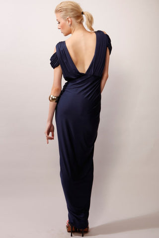 A-Line V-Neck Boho Navy Jersey Beach Cheap Popular Open Back Chiffon Bridesmaid Dresses PM516