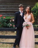 Charming A Line V Neck Open Back Tulle Pink Prom Dresses with Beading, Prom Dress P1506