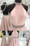 Pink Backless Beaded Prom Dress,Halter Prom Dress,Custom Made Evening Dress,17014