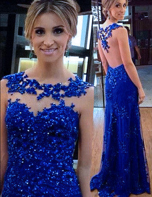 Royal Blue Sexy Prom Dresses,Long Evening Dresses,Backless Prom Dresses On Sale, T97