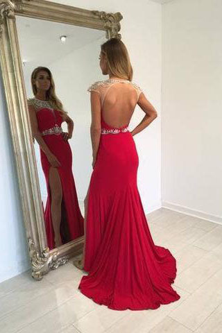 Backless Beading Mermaid Real Made Long Open Back Scoop Slit Cap Sleeve Evening Dresses uk L46