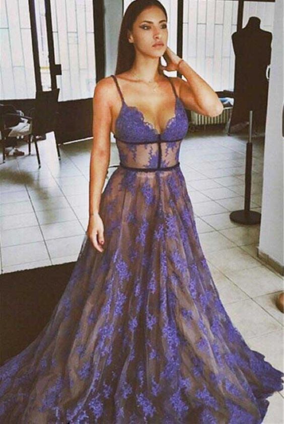 Purple Lace Prom Dresses Spaghettis Straps Nude Lining Long Sexy Evening Gowns PW211