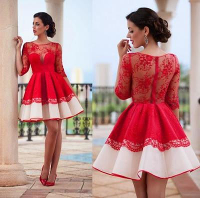 Long sleeve Short Red Sexy homecoming dress,Lace dresses for homecoming, 17607