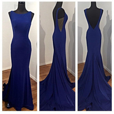Elegant Prom Dress Blue Mermaid Backless Satin Party Gowns Sexy Formal Gown PH141
