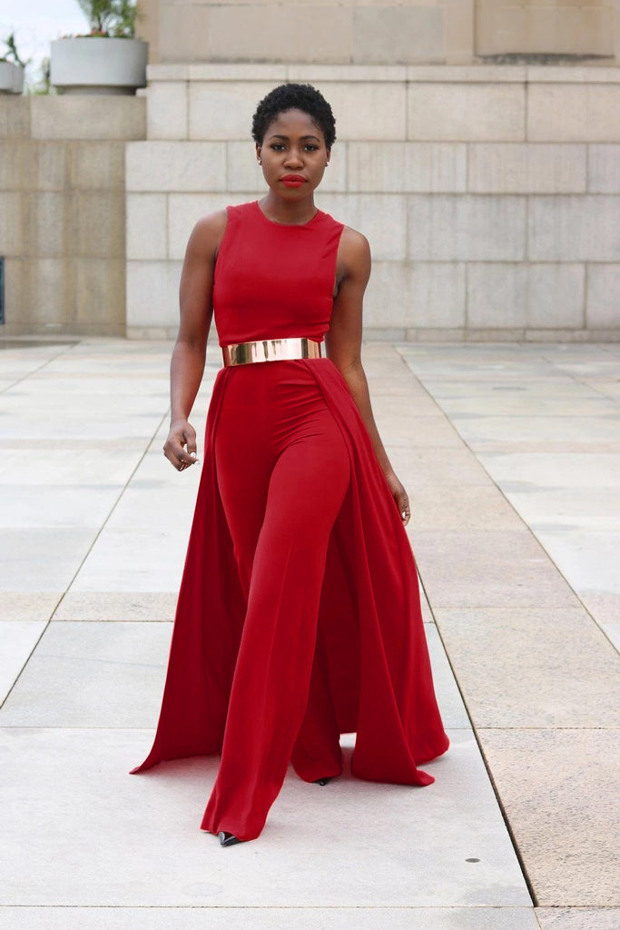Red Sleeves Belted Wide Leg Jumpsuit, Plus Size Jumpsuit