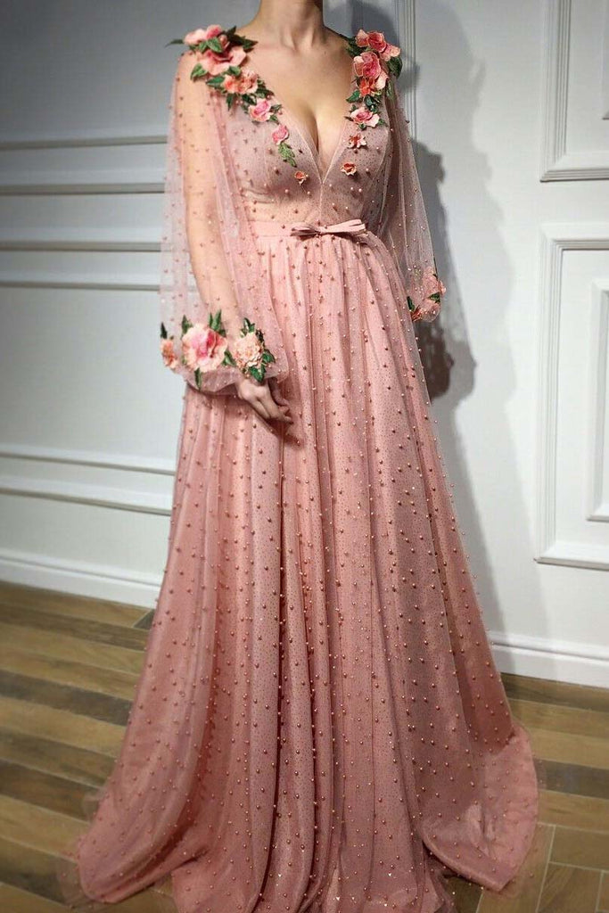 3D Floral Long Sleeve Pink Prom Dresses, Pearl Beaded V Neck Formal Dresses uk PW377