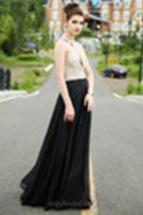 Classy A-line Scoop Chiffon Tulle Crystal Detailing Black Open Back Prom Dresses uk PM525