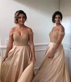 2017 Off-the-Shoulder Sweetheart Long Pink A-Line Beads Open Back Bridesmaid Dresses PM594