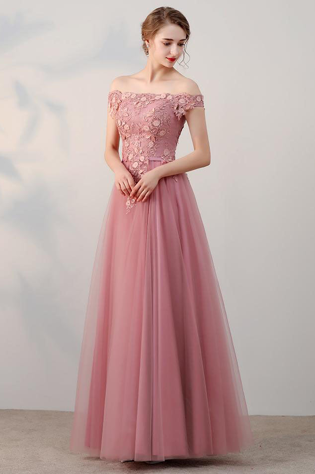Chic A-Line Off-the-Shoulder Pink Appliques Lace-up Tulle Modest Long Prom Dresses uk PM410