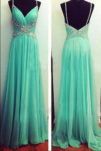 Blue Chiffon Cheap V-Neck Open Back Spaghetti Straps A-Line Long Prom Dresses uk,BD0407