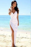 Simple Sexy Open Back Beach Side Slit Spaghetti Straps Summer White Wedding Dresses PH22