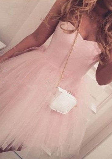 Adorable A-line Sweetheart Short Pink Tulle Homecoming Dress/Party Dress PM474