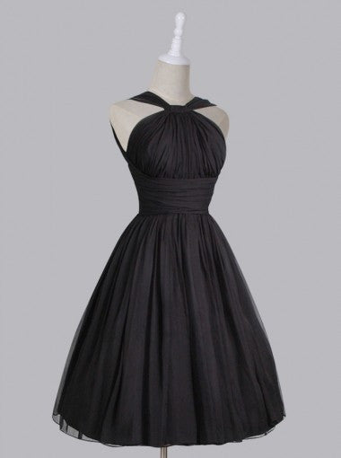 Vintage A-line Straps Knee-Length Chiffon Sash Backless Black Party Homecoming Dresses PM448