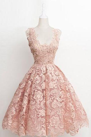 Vintage A-line Scalloped-Edge Knee-Length Lace Light Pink Prom Homecoming Dress uk PM874
