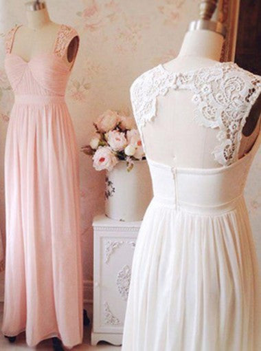 Elegant Square Sleeveless Long Pink Homecoming Dress with Lace Open Back Ruched PM465
