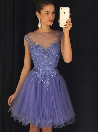 Stunning Bateau Cap Sleeves Short Lavender Homecoming Dress with Appliques Pearls PM449