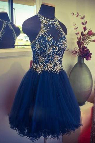 Modern Jewel Short Open Back Blue Homecoming Dress with Beading PM452