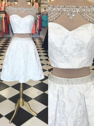 Trendy Two Piece Bateau Cap Sleeves Short White Homecoming Dress Beading Lace PM454
