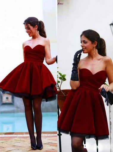 Fabulous Sweetheart Short Burgundy Velet Prom Homecoming Dress Ruched PM461