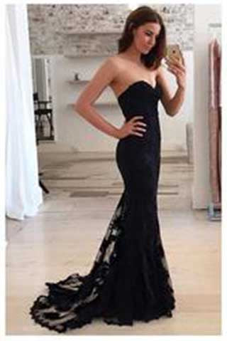 Mermaid Sexy Sweetheart Strapless Lace Sleeveless Popular Long Evening Dresses uk PM816