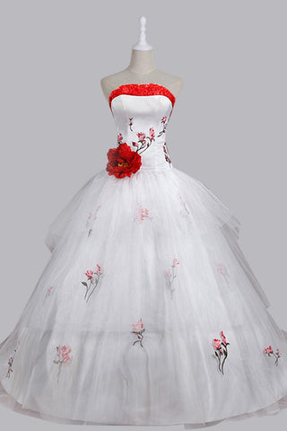 Stunning Ball Gown Strapless Wedding Dress with Embroidery Handmade Flower Lace-up PH450