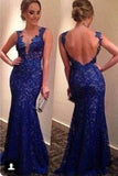 Mermaid Royal Blue Lace Charming Prom Dresses,Long Evening Dresses,Prom Dresses On Sale, T163