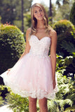 G2048 Feminine Lace Accented Sweetheart Appliques Strapless Tea Length Homecoming Dress