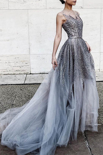 Gray tulle sequins round neck see-through long prom dress,train dresses P1449