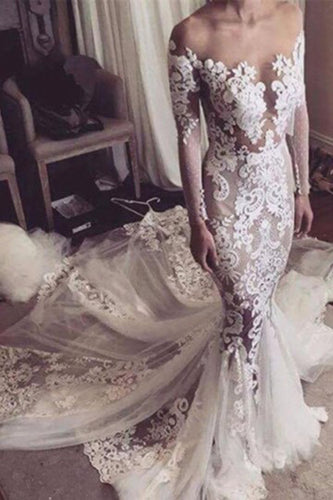 Illusion Neckline Lace Appliques Mermaid Long Sleeves Court Train Ivory Wedding Dresses uk PH846