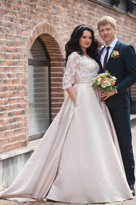Wedding Dress With Pockets.2017 A Line Lace 3 4 Sleeve Pockets Scoop Satin Button Floor Length Wedding Dress Pm412