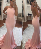 2017 Halter Mermaid Halter Pink Backless Long Sleeveless Floor Length Long Prom Dresses uk PM766