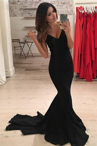Mermaid V-Neck Criss-Cross Straps Spaghetti Straps Sweep Train Black Satin Prom Dresses uk PM384