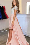 Scoop Sleeves Detachable Train Pearl Pink Satin Evening Dress with Lace Prom Dresses uk PM383