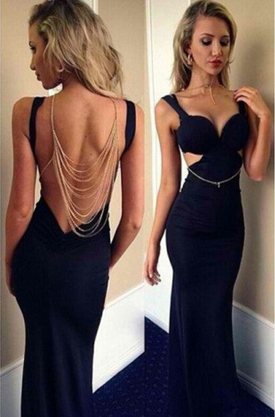 2017 Mermaid Navy Online V-Neck Backless Sleeveless Beautiful Prom Dresses uk PM950