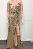 Gold Sequin Deep V-Neck Open-back Spaghetti Strap Side Slit Prom Dresses uk PM373