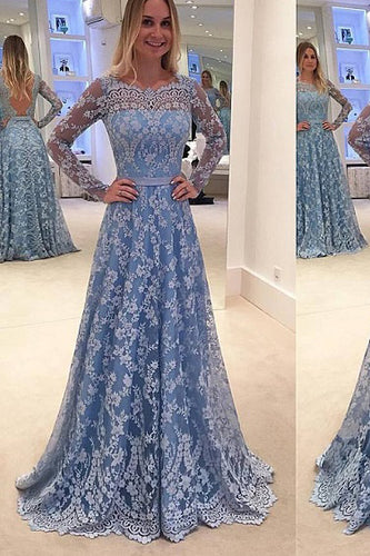 Lace Evening Dress Blue Prom Gowns Modest Prom Dresses For Teens Formal