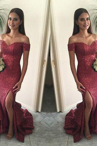 Red Mermaid Long Sequin Sexy Sweetheart Off-the-Shoulder Backless Custom Prom Dresses uk PM978