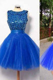 Royal Blue Short Tulle Sleeveless Prom Dress,A-line Prom Dresses,prom dress for girls,BD1242