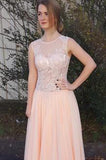 A-Line Peach Chiffon Sleeveless Pink Scoop Sweetheart Open Back Prom Dresses uk PM795