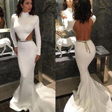 White High Neck Mermaid Long Sleeve Hollow Waist Backless Saudi Arabia Prom Dresses uk PM165