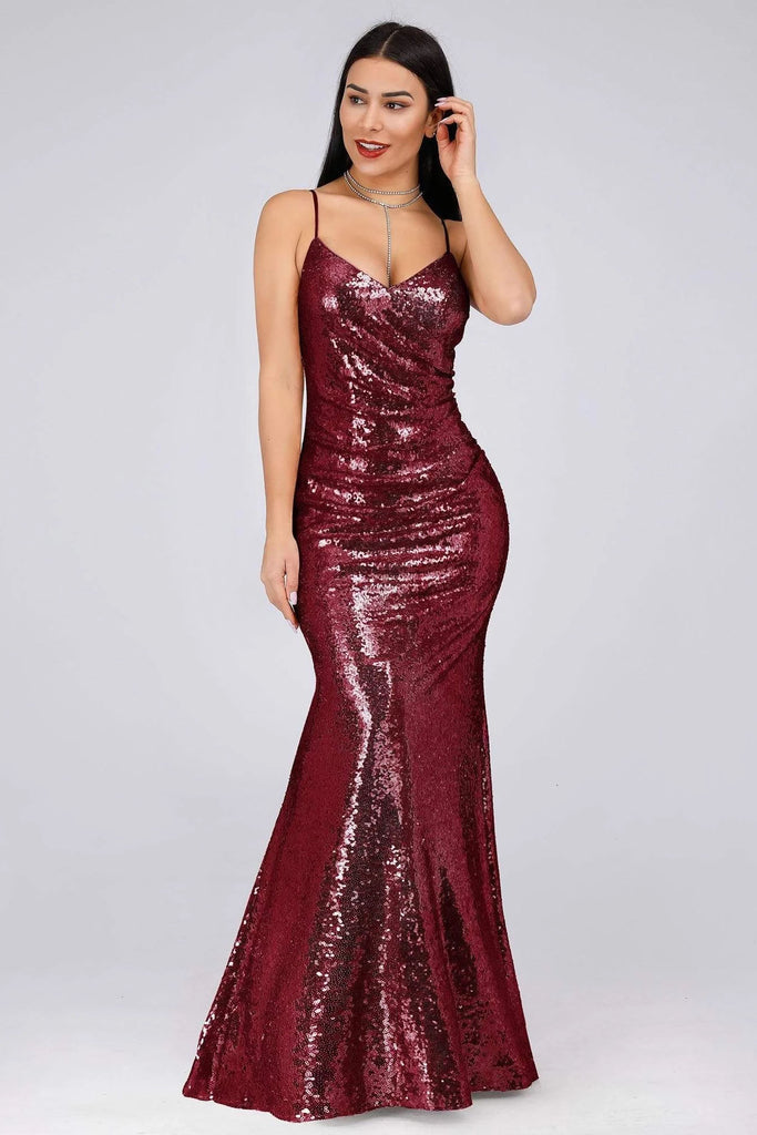 Sexy Spaghetti Straps Burgundy Sequins V Neck Party Dresses Mermaid Prom Dresses P1170