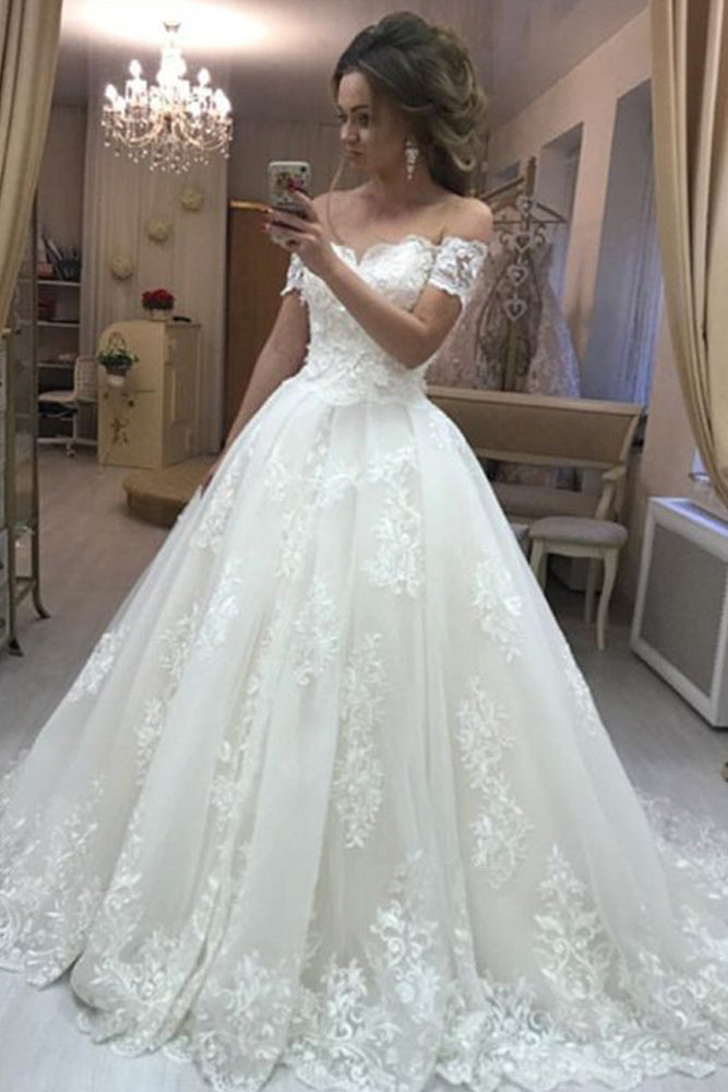 Gorgeous Ball Gown Off The Shoulder Sweetheart Open Back Tulle Lace Wedding Dresses Uk Pw205