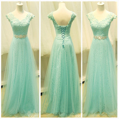 Mint Lace Cap Sleeve Sweetheart Lace up A-Line Tulle Green Floor-Length Prom Dresses uk PH57