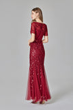 Elegant Mermaid Burgundy Tulle Prom Dresses Round Neck Long Evening Dresses XU90801