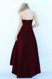Modest High Low Burgundy Prom Gowns Wine Red Prom Dresses PH142