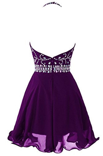 Short Beaded Prom Dress Halter Homecoming Dress Backless PH237