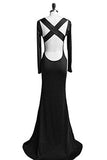 Long Sleeve Backless Sheath Party Dress Prom Gown CLF015
